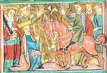 Angeblicher Fußfall Barbarossas vor Heinrich dem Löwen in Chiavenna 1176, Sächsische Weltchronik (spätes 13. Jahrhundert).