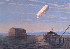 Aufstieg eines Zeppelins 1908 in der Bucht von Manzell