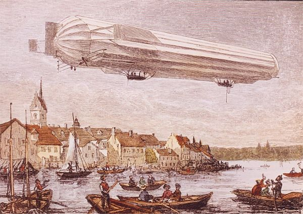 Aufstieg eines Zeppelin um 1900