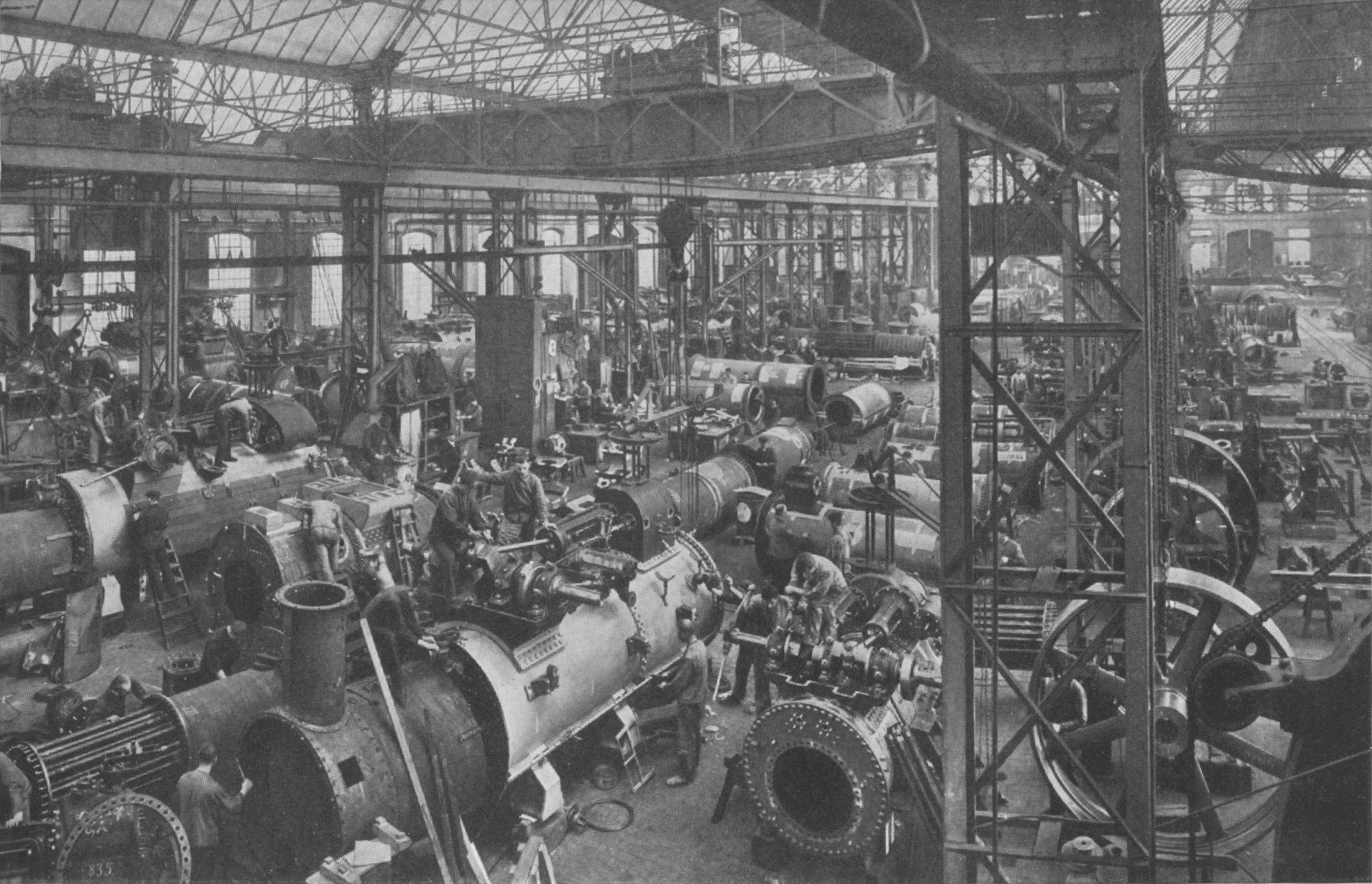 Gleichzeitige Montage von 50 Lokomotiven in einer Fabrik (vor 1912)