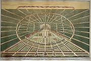 Karlsruher Stadtansicht Kupferstich von Heinrich Schwarz,1721