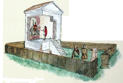 Idealrekonstruktion des Heiligtums.