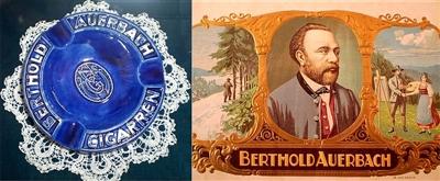 Aschenbecher und Banderole aus der Nordstetter Zigarrenfabrik mit Berthold Auerbach als Werbeträger.
