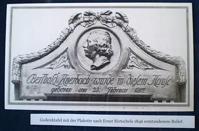 Abbildung der nach 1933 zerstörten Gedenktafel im Berthold- Auerbach-Museum.