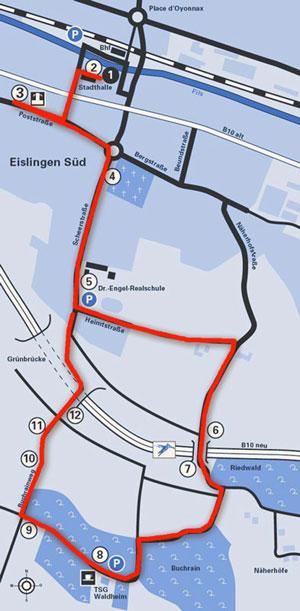 Karte des Eislinger Saurier-Lehrpfads