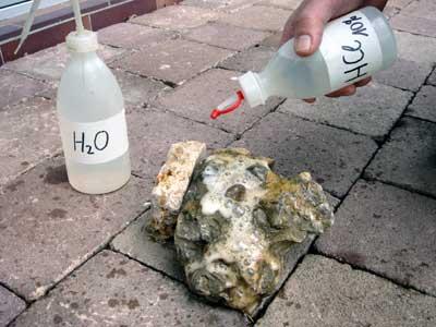 Kalkstein reagiert auf Salzsäure-Test