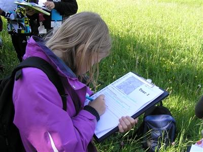Die Kinder halten ihre Beobachtungen im Forscherheft fest.
