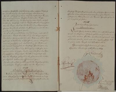 Schluss-Seiten des großherzoglichen Edikts über die Juden vom 13.1.1809
