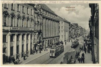 Badische Landesgewerbebank und rechts davon das Warenhaus Tietz, um 1926.