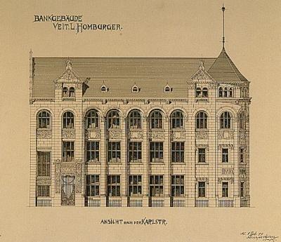 Planzeichnung des Bankhauses Veit L. Homburger, 1899.