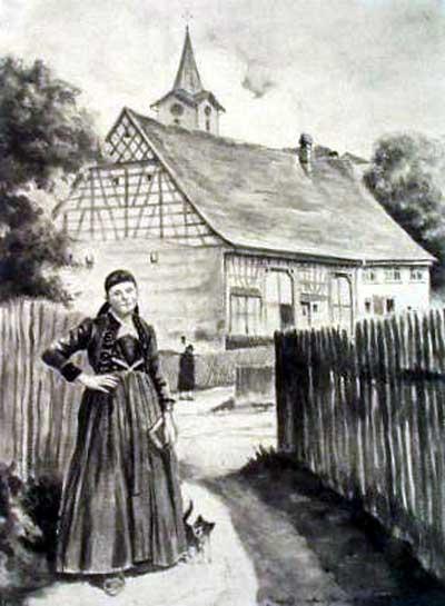 Hans Georg Müller-Hanssen, Frau in Tracht mit Gebetbuch, im Hintergrund Vogtshaus und Stadtkirche Schwenningen