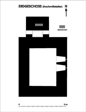 Rekonstruktion des mittelalterlichen Grundrisses des Lauffener Wohnturms