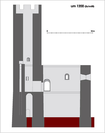 Schnitt durch den Wohnturm und stauferzeitlichen Bergfried