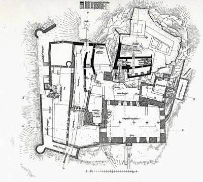 Grundriss der Burgruine Hohenbaden von Otto Linde,