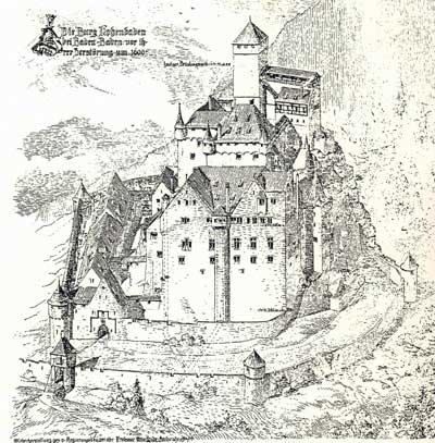 Rekonstruktionszeichnung Burg Hohenbaden