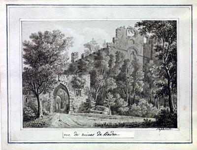 Vue des ruines de Baden