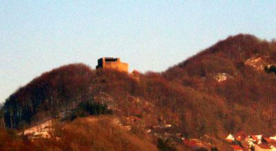 Die Burganlage erstreckt sich auf einem Sporn des Rechbergs