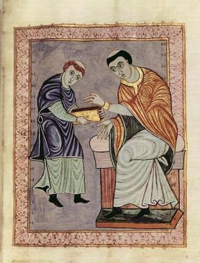 Ein Mönch übergibt einen Kodex an einen Auftraggeber