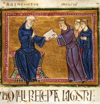 Der Hl. Benedikt übergibt die Klosterregel an Mönche (St. Gilles, Nimes 1129).