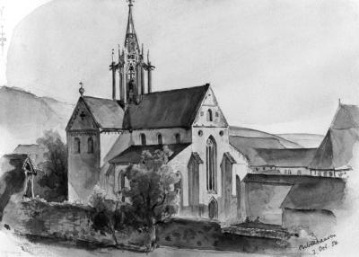 Kloster Bebenhausen 1854. Aquarell von Kalle