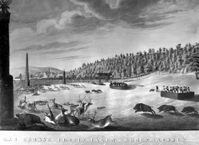 Das große Festin Jagen zu Bebenhausen (1812). Kupferstich von J.C. Spahr