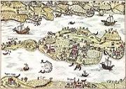 Kolorierte Federzeichnung von 1627