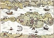 UNESCO–Welterbe Klosterinsel Reichenau Kolorierte Federzeichnung von 1627