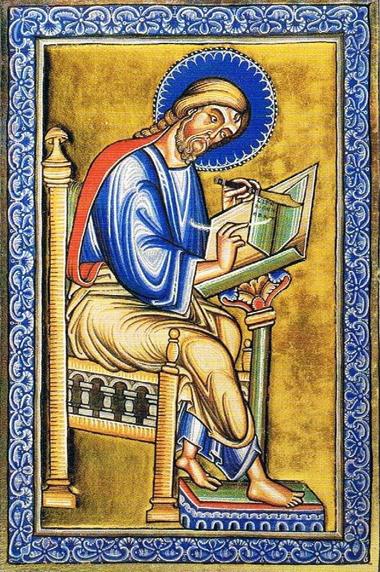 Schreibender Evangelist Matthäus (aus dem Berthold-Sakramentar, Weingartener Skriptorium, nach 1220)