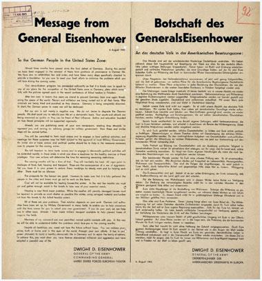 Botschaft von General Eisenhower an das Volk in der Amerikanischen Besatzungszone