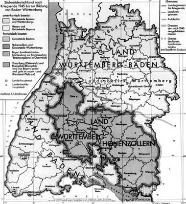 Staatliche Gliederung Südwestdeutschlands 1945-1952