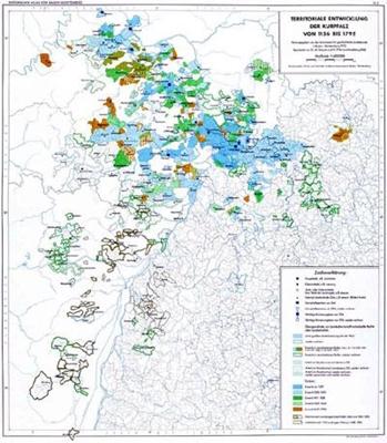 Territoriale Entwicklung der Kurpfalz von 1156 bis 1792