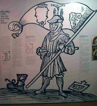 Bauer mit Bundschuhfahne. Titelbild der Flugschrift