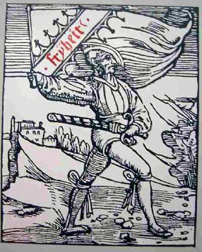 Darstellung aus Thomas Murner: Von dem großen lutherischen Narren, Straßburg, 1522, Holzschnitt