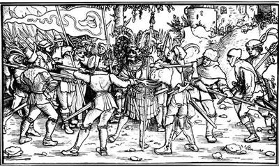 Graf Helfenstein wird gefangen genommen 1525 Holzschnitt