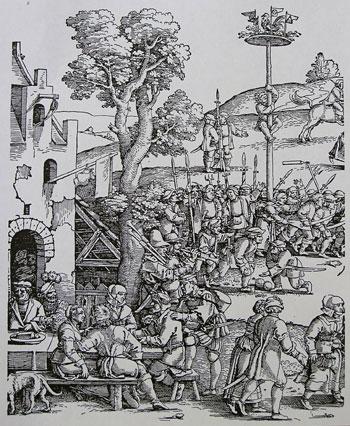 Aufständische Bauern auf der Kirchweih - Holzschnitt von Hans Sebald Beham, 1539