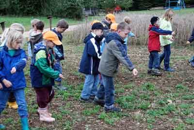 Beim Säen muss der Bauer darauf achten, dass der Getreidesamen gleichmäßig verteilt wird.