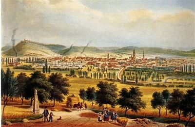 Farblithografie der Industriestadt Heilbronn,