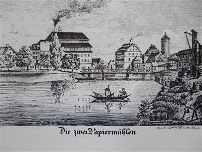 Die zwei Papiermühlen, Lithographie der Gebrüder Wolff
