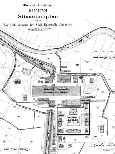 Lageplan der Süddt. Baumwoll-Industrie Kuchen mit Arbeitersiedlung