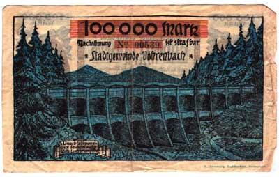 Notgeld der Stadt Vöhrenbach von 1923 mit Abbildung der im Bau befindlichen Linachtalsperre