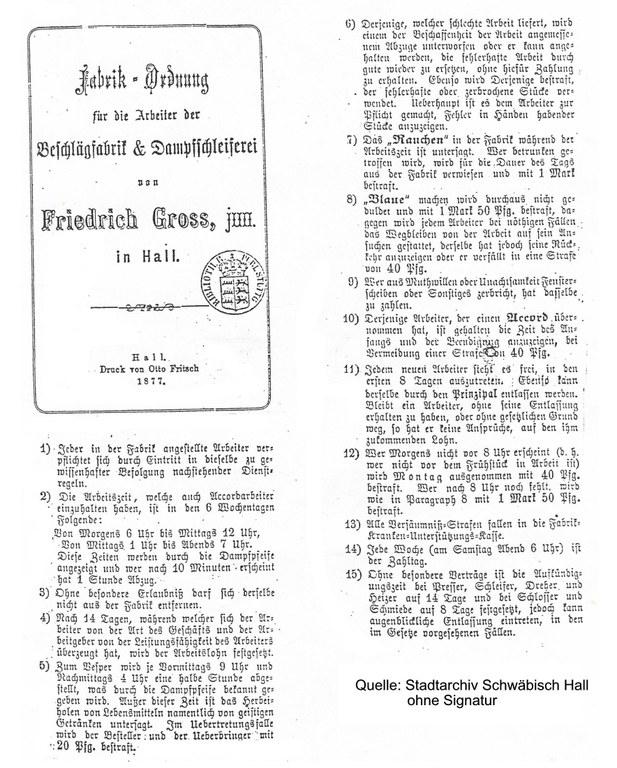 Fabrikordnung der Grossag (1877)/Auszug