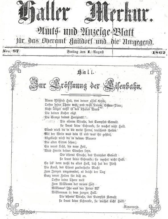 Haller Merkur zur Eröffnung der Eisenbahn (1. Aug. 1862)