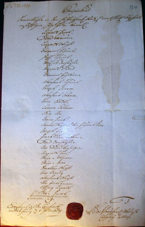 Abschrift des Schutzbriefs von 1734