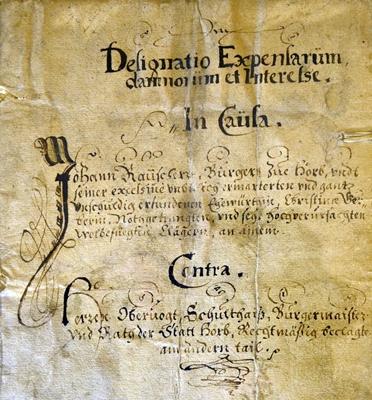 Aufstellung aller Kosten, die von 1599 bis 1616 entstanden
