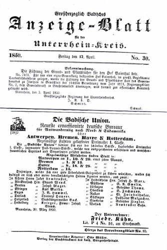 Großherzoglich Badisches Anzeige-Blatt