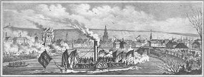 Ankunft des ersten Dampfboots im Heilbronner Hafen