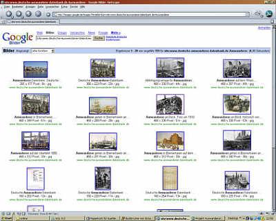 Bildübersicht aus der Auswanderer-Datenbank