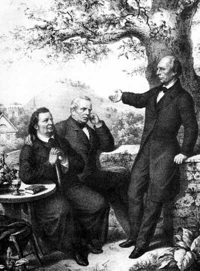 Justinus Kerner (links, mit Gustav Schwab und Ludwig Uhland) schuf mit seinem Gedicht