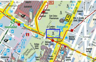 Lageplan der Eberhardsgruppe im Mittleren Schlossgarten