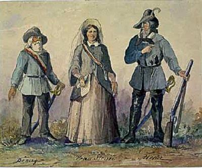 Amalie Struve, zusammen mit Georg Böhning und Friedrich Hecker, Handzeichnung 1848